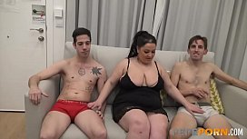 Widow Celeste wants to recover her lost time by eating two young dicks