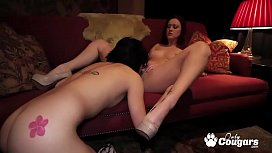 Karlie Montana and Kami Li Eat Some Pussy On The Sofa