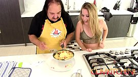CUM Kitchen: Ron Jeremy fucks young blonde teen Lilly Ford while cooking