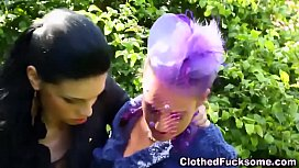 Glam lesbos play outdoors