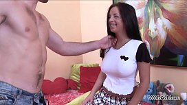 Teenyplayground Ass fucked brunette swallow loads of cum when satisfied