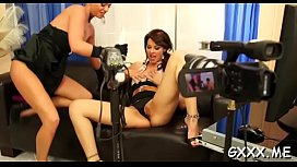 Mature lesbian gets her fascinating cunt toyed with a large vibrator