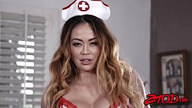 Exotic Mia Lelani charms BBC stud with nurse cowgirl