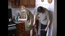 Son Fucks Mom In The Kitchen While His Father At Work