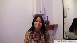 Beuatiful babe fucks in public tanning room POV