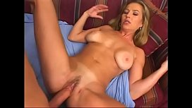 Cute blonde milf Darian Ross loves riding this lucky guy's big hard dick on her couch