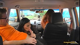 Lucia threesome during driving lesson