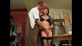 Redhead granny loves anal