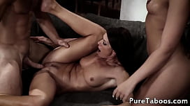 Cougar stepmommy drilled in threesome