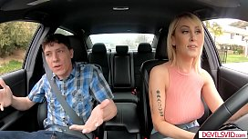 Busty taxi driver fucks for extra tip