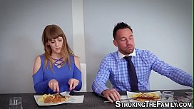 Stepmom milf gets face and mouth spermed