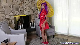 Purple haired Asian princess Avery Black loves having sex while in costume. She moans while her lover licks her pearly clit then pounds her cunt hard.