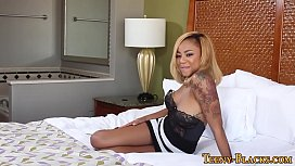 Tiny ebony teen creampied...