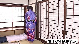 Japanese teen geisha has her hairy pussy toyed in a dojo