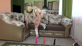 Very hairy pussy and juicy booty at the casting. Role-playing game with masturbation from a blonde in a short dress.