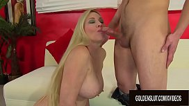 Busty Granny Cala Craves Shows Her Young BF the Fun of Fucking Older Women