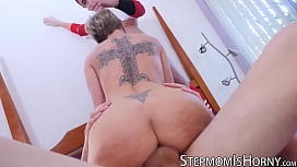 Blond bombshell Dee Williams fucks two young cocks