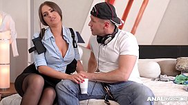 Anal inspection of hot Detective Kendra Star ends in hardcore DP threesome