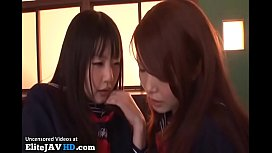 Japanese 18yo schoolgirls have their first lesbian experience