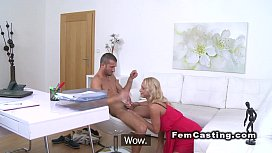 Female agent gets cum...