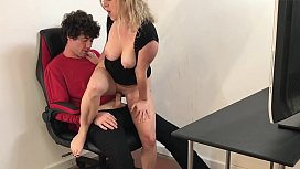 Stepmom helps stepson cum...