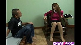Ai Kurosawa in uniform rubs hairy pussy and gets sucked cock in