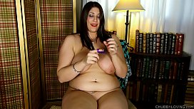 Chubby big tits babe loves fucking her fat juicy pussy with her new toy