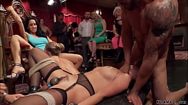 Slaves group fucked at bdsm party