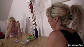 Blonde mature and teen lesbian toying