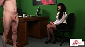 CFNM office babe instructing...