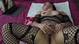 Asian MILF - Pussy Playing While Watching Porn in Black Stockings sex image