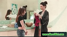 Shyla Jennings &amp_ Mindi Mink preparing for massage