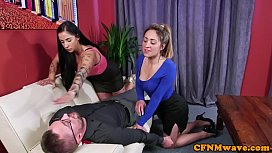 Busty cfnm femdoms jerking...