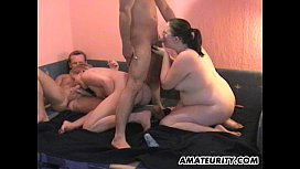 Amateur homemade foursome with chubby girlfriends