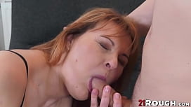 Beautiful redhead MILF fucked and rewarded with cum in mouth