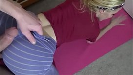 Ashley Fires lets her stepson fuck her during yoga