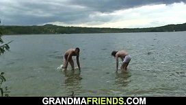 Old granny and boys teen outdoor threesome