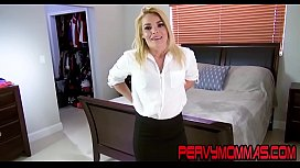 Classy milf tugging dick and giving stepson blowjob