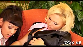 Sexy lesbian chick groans hard with big vibrator on her cunt