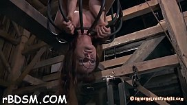 Gagged beauty with legs widen wide receives toy satisfying