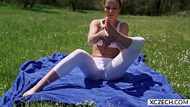 Erotic yoga with beautiful...