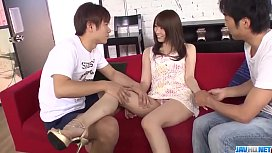 Hitomi Oki mind blowing group porn on the couch  - More at 69avs com