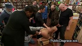 Bound Babe Anal Fucked In Book Store