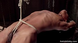 Hairy ebony slave in hogtie gets waxed