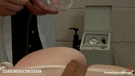 Busty blonde babe gets treatment in gynecological chair
