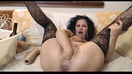Hot milf in lace deep anal dildo and fisting - WetSlutCams.com