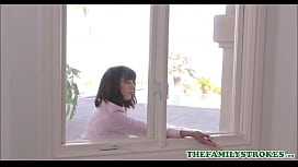 Sexy MILF Step Mom Amber Chase Stuck In Window Both Step s.'_s At Each End