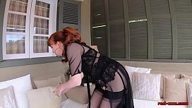 Mature babe Red uses a glass dildo on her tight cunt