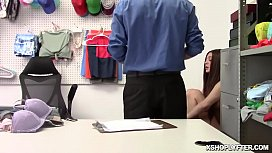 Teen Jojo Kiss punished for stealing goods by the security officer fucking her tight twat in the office