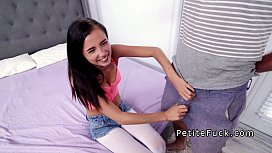 Petite teen gets huge...